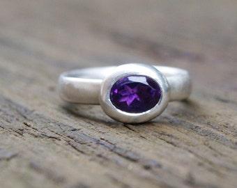 Silver amethyst ring, oval amethyst ring