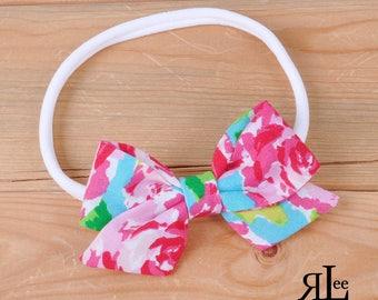 Rose Garden Bow - Folded Sailor Bow - Hair Bow - Sailor Headband - Clip