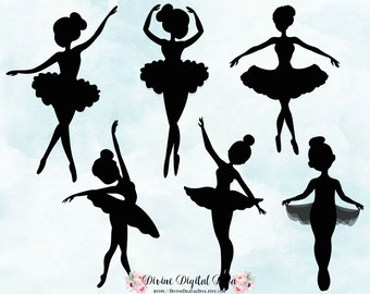 Ballerina Silhouettes | Tutu Dance Ballet | Clipart Instant Download
