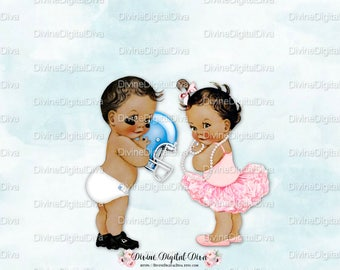 Touchdowns or Tutus Vintage Baby Football & Ballerina | Medium Skin Tone | Boy Girl | Gender Reveal Twins | Clipart Instant Download