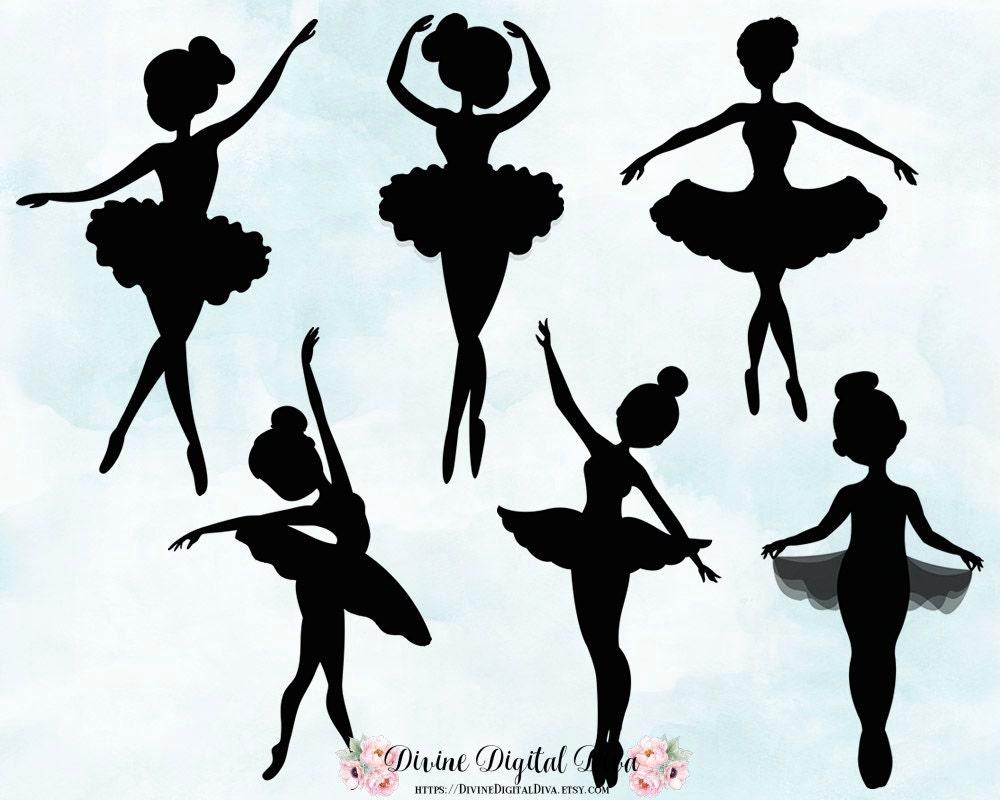 Ballerina Silhouettes Tutu Dance Ballet Clipart Instant