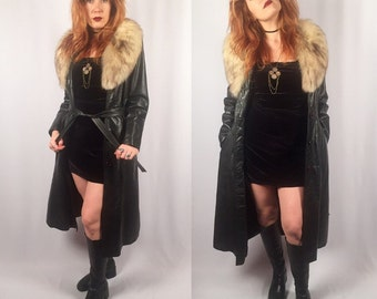 Vintage black leather 1970's fox fur trimmed trench coat