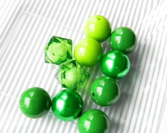10 Green Bubblegum Beads Round 20mm Chunky Beads For Jewelry Making DIY Beads Craft Supplies 20mm Wholesale Beads