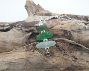 Cornish Sea Glass Stack Necklace ~ Seafoam & Green ~ Sterling Silver ~