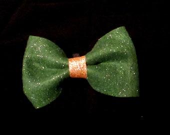 Green Sparkle Felt St. Patrick's Day Bowtie, Collar Bowtie, Dog Accessory, Pet Accessory, Felt Bowtie, Collar Accessory, Pet Wear