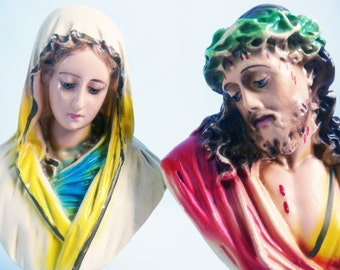 Vintage Jesus & Mary Chalkware Busts - Pair Retro Jesus Bloody Head Face w/ Blessed Mother - 2 Religious Statues Catholic
