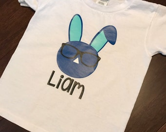Toddler Boy or Girl Personalized w/ Name Easter T Shirt - Bunny Rabbit with Glasses and Name - Bow on Girl Version - Short Sleeve Spring Top