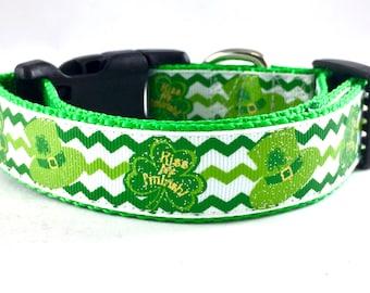 Kiss Me!  Chevron St. Patrick's Day Dog Collar