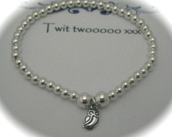 Sterling Silver Owl Charm Stretch Bead Bracelet with a message