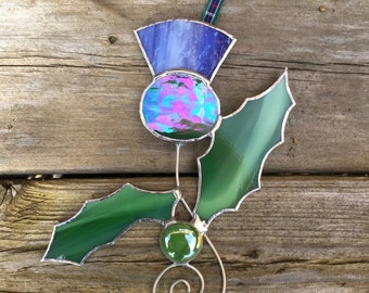 Stained Glass Thistle Sun Catcher