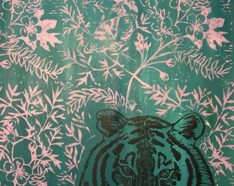 Tiger and Hawthorn, Hand-pulled original Lino block print poster