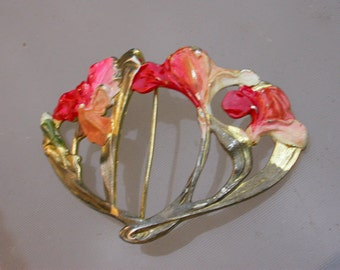 French antique art nouveau flower enamel Hand Crafted Belt Buckle Large gold tone antique jewelry flower decoration ornate