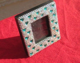 Retro Blue Heart Cabochon Iridescent Glitter Small Picture Frame