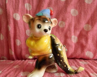 Kitschy Retro Bear With Fish Figurine