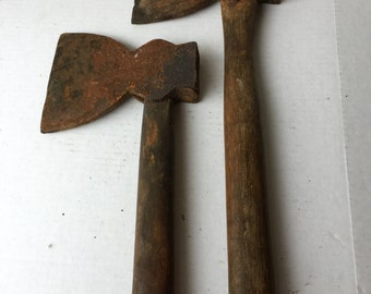 Set of two old hewing axes