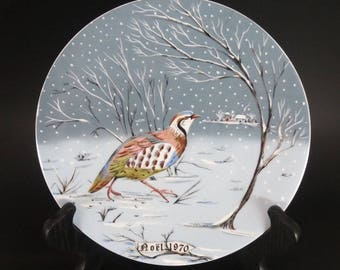 Vintage Haviland Limoges Collector Plate - Christmas 1970 - Partridge In A Pear Tree - 12 Days of Christmas - Remy Hetreau - France
