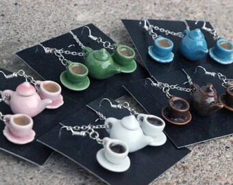 Tea/coffee pot/cups necklace/earring set-- choice of pink, green, blue, white, brown