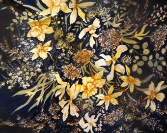 """21""""x22"""" x2 and 10""""x 18"""" x2 vintage uphholstery craft fabric black yellow green floral very stiff gorgeous fabric b10"""