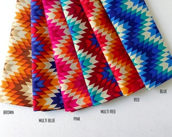 Geometric chevron Indian Fabric, aztec block print cotton, tissu indien, chevron cotton with border, boho fabric, sewing fabric, half yard