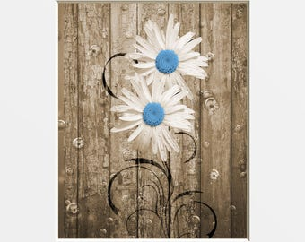Rustic Brown Blue Bathroom Wall Pictures, Daisy Flowers Bubbles Home Decor Matted Wall Art