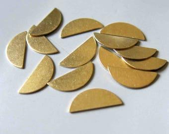 100pcs Raw Brass half round Stamping Blank,Stamping Tag, 16mmx6.5mm - F530