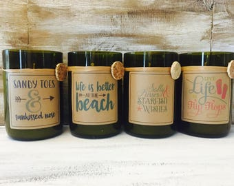 Beach candles..Candles made out of recycled wine bottles..