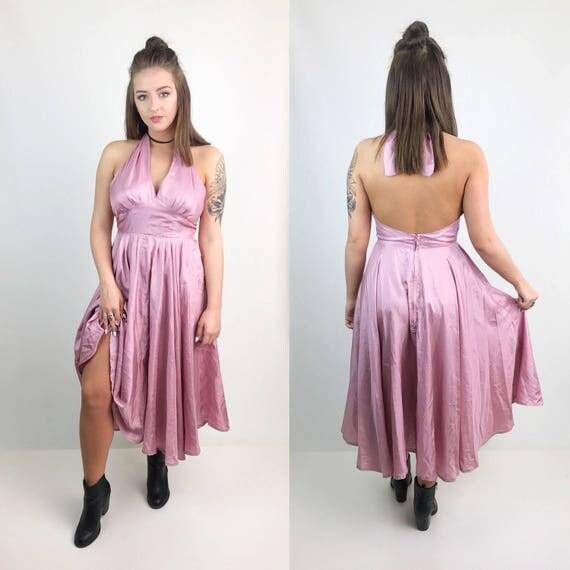 Handmade Rose Pink Halter Dress Medium - Dusty Pink Marilyn Monroe Style Tie Neck Midi Dress - Full Circle Skirt Romantic Evening Dress