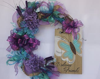 Grapevine butterfly Welcome Friends Wreath / purple, turquoise , teal, butterflies, flowers, wooden Welcome Friends sign