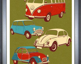 Classic vehicles, signed limited edition print