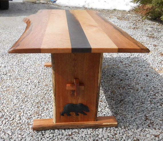 Beautiful Live Edge, Oak,Walnut, and Curly Maple Trestle Style Coffee Table