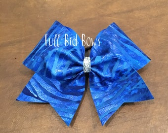 Cheer Bow - Royal Blue Tiger