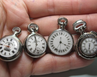 Fancy Vintage Silver POCKET WATCH Clock Timepiece Watches Wrist - French Feve Feves Porcelain Figurines Doll House Miniatures Figurine E14