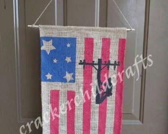 American flag-Texas flag lineman pride door hanger