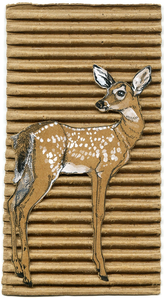 Ciao Cara! Deer Drawing on Cardboard Fine Art Print - Signed