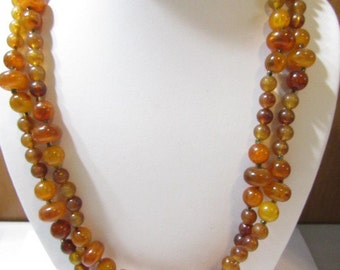 Long Beaded Necklace Hong Kong Vintage 1970's New Unused Old Stock Faux Honey Amber Shapes