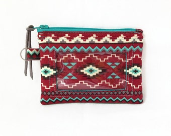 Southwest ID Wallet With Window, Aztec Print Coin Purse, Red Aqua Small Change Pouch, Student ID Holder, Business Card Holder, Badge Holder