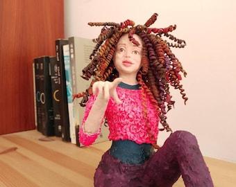 Paper mache sculpture, papier mache art, shelf decor, wall sculpture, realistic curly girl
