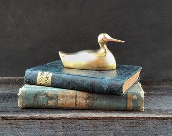 Brass Duck Paperweight - Figurine - Gold Duck - Mid Century Modern