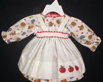 Dress and Apron for 25 inch Raggedy Ann Doll;White dress with apples,embroidered apron