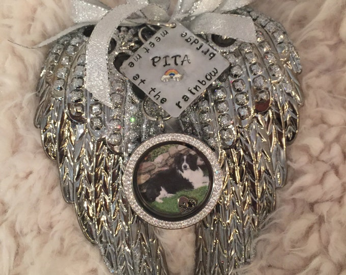Rainbow bridge pet memorial portrait angel wing floating locket ornament