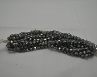 Fire Polished 6mm Light Grey with vintage silver luster beads