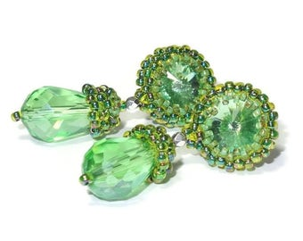 sparkling green earrings green in a vintage style with Crystal cut stone