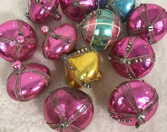 11 Antique Atomic Era Mercury Glass Christmas Tree Ornaments * West Germany *