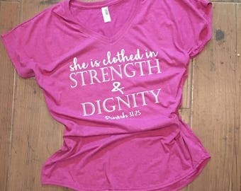 She is clothed in Strength & Dignity - Bibe Verse Women's Tee