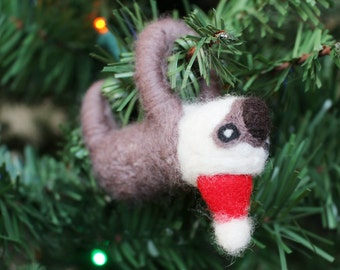 Needle-felted Sloth Christmas Ornament (with Santa hat)
