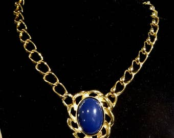 Vintage Monet Blue Cabochon Necklace