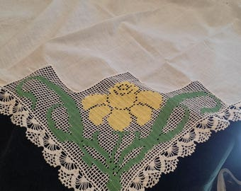Vintage square tablecloth with large corner of green, yellow, white crochet