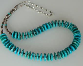 Navajo Turquoise Rondelle Sterling Silver Native American Adjustable Necklace Helen Tsosie 18-22