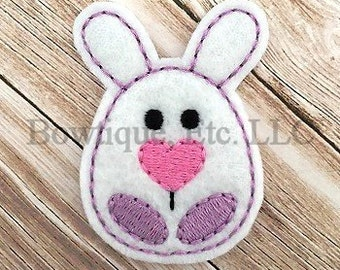 Bunny Egg Feltie/Hair Bow Center/24 turn around time/Embroidered/Embroidery/Easter