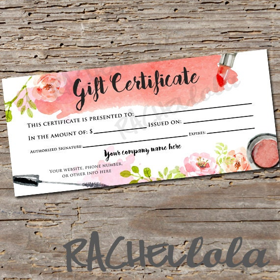 Custom Watercolor Makeup Printable Gift Certificate Template - Makeup gift certificate template